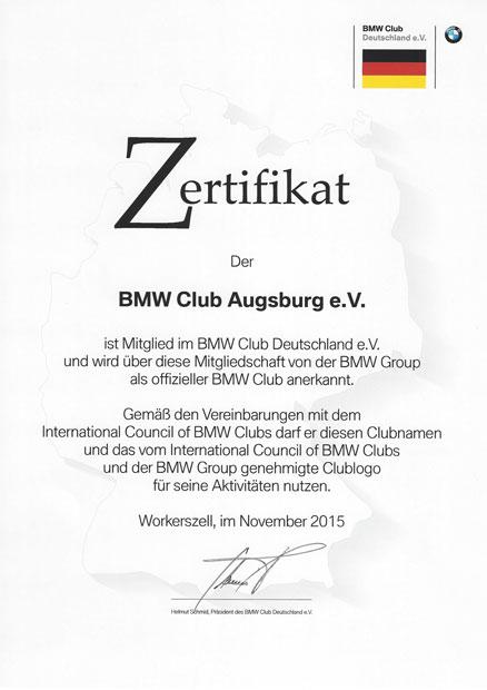 Zertifikat BMW Club Deutschland e.V.